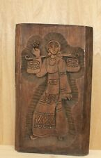Vintage hand carving wood wall hanging plaque woman with folk costume