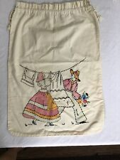 ANTIQUE / VINTAGE OFF WHITE FEEDSACK LAUNDRY BAG Embroidered Drawstring Top