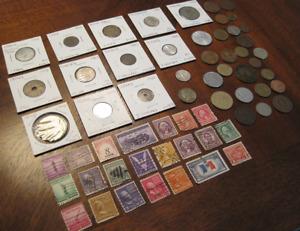 World Coins, Vintage U.S. Stamps, Silver War Nickel, France 80% Silver coin
