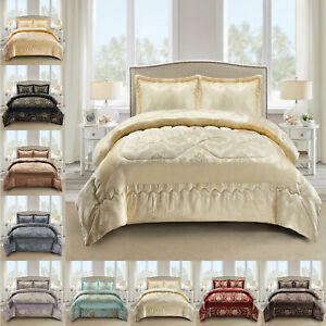 3 Piece Quilted Bedspread Bed Throw Heavy Jacquard Comforter Set With 2 Shams
