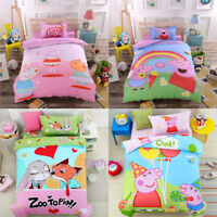 Peppa Pig Single Size Bed Quilt Doona Duvet Cover Set Pillow Case 100% Cotton