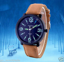 Military Mens Fashion Leather Strop LED Backlight Luxury Quartz Army Wrist Watch