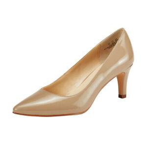 Women's Kitten Heel Pumps Ladies Pointed Toe Stilettos Court Shoes Size6 Natural