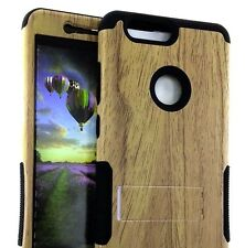 For ZTE SEQUOIA / BLADE Z MAX - Hybrid Armor Kickstand Case Cover Brown Wood