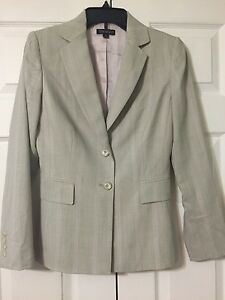 Tahari pant suit, grey with pink stripes, size 2