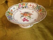 Porcelain Hand Painted Floral Open Work Pedestal Dish Made In Slovakia