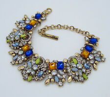 Fabulos Sparkling Huge Signed Oscar De La Renta Goldtone Blue Orange Bracelet
