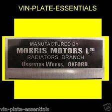 MORRIS MINOR MG MGA RADIATOR CHASSIS PLAQUE OSBERTON WORKS@ VIN PLATE ESSENTIALS