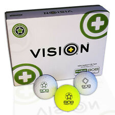 """12 Golfbälle - VISION Pro Soft 808 """"TestTheVision""""  - Weiß Gelb Golfball Fitting"""