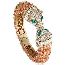 Panther Leopard Animal Bangle Bracelet Pink Austrian Crystal Gold GP Fashion