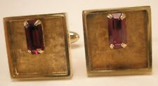 Red Baguette Rhinestone Gold Tone Vintage Quality Cuff Links gift