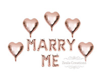 Marry Me Proposal Ideas Engagement Balloons Decorations Rose Gold Heart Balloons