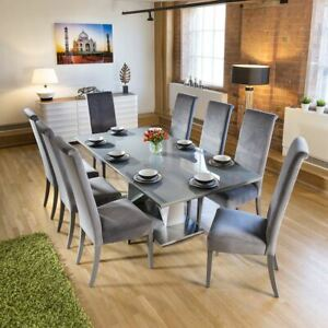 Large 8 Seater Dining Set 2.2mt Grey Glass Table 8 Tall Grey Chairs
