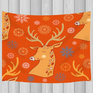 Cartoon reindeer pattern Tapestry Wall Hanging for Living Room Bedroom Decor