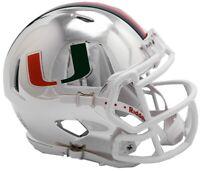 Miami Hurricanes Alternate Chrome NCAA Riddell Speed Mini Helmet