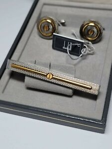 Vintage Dunhill, Silver plated, Gold face, Cufflinks and Tie Clip - Box & Tags