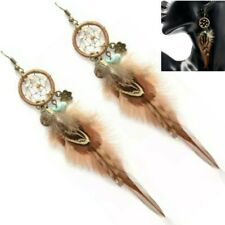 Lovely Dream Catcher Feather Earrings Ethnic Tribal Protection Boho Jewellery