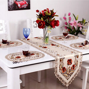 4pcs Embroidery Floral Placemat Wedding Dining Party Decor Table Mats Cover Oval