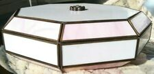Vintage Stained Glass PINK & WHITE Ceiling Light Fixture