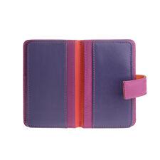 DuDu Porta carte di credito in pelle Fucsia per 12 tessere e chiusura bottone