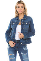 Women's Juniors Boyfriend Premium Denim Jackets Long Sleeve Jean Coats
