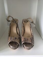 Used Snakeskin Peep Toe Sling Back High Heels Size 7