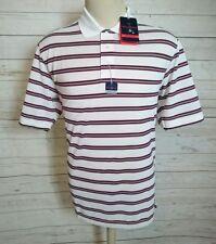 New Tehama Striped  Golf Club Polo Shirt Men's Hang'Em DryMoisture Size M