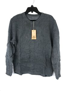 Prana Men's Sherpa Grey Crew Neck Sweater, Size Small