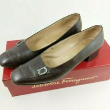 Ferragamo Shoes Brown Leather Women's Size 7.5 AA Flats Italy 90's Square Toe