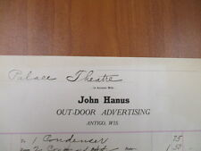 Vintage movie letterhead John Hanus outdoor advertising Antigo Palace theatre