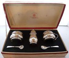 Goldsmiths & Silversmiths Vinagrera Sal Pimienta Agitador de mostaza de Plata Pot bham 1951