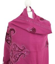 Indian Embroidered Shawl Pashmina Stole Scarf Velvet Patch Shawls Kashmir Wool