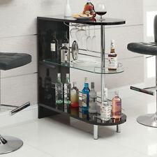 Black 2 Shelf  Bar Table Furniture Home Living Pub Game Room Dining Kitchen Rack