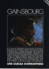 "PUBLICITE ADVERTISING   1987   GAINSBOURG ""une gueule d'atmosphére"" (3 pages)"