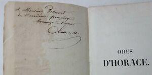 RARE Odes d'HORACE Traduit en prose CHRESTIEN de LIHUS ENVOI à VIENNET 1852 PLON