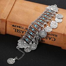 Charms Boho Silver Coin Tassel Turkish Tribal Ethnic Bracelet Gypsy Holiday
