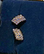 Yellow Gold Elegant Tanzanite Stud Earrings Genuine