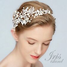 Crystal Pearl Flower Bridal Vine Headband Headpiece Tiara Wedding Accessory 764S
