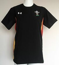WALES RUGBY S/S BLACK TRAINING JERSEY BY UNDER ARMOUR SIZE ADULTS XL NEW