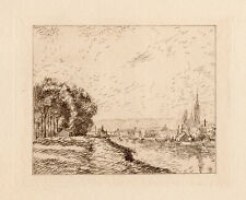 """Extraordinary 1892 Camille Pissarro Limited Etching """"View of Rouen"""" Framed  COA"""