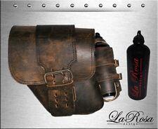 La Rosa Rustic Brown Leather Solo Strap Harley Dyna Left Saddlebag + Gas Bottle