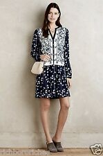 NEW Anthropologie Tiny blue & white Embroidered Ruffle Drop Waist Shirtdress M