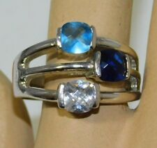 Vtg Dark Blue White Baby Blue Faceted Glass Silver Tone size 10.75 Ring 10j 100