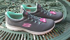 Womens Skechers Trainers Memory Foam Slip On Stretch Sneakers Grey UK 5 New