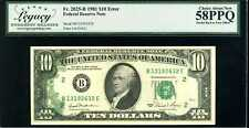 1981 $10 Federal Reserve Note Error Fr.2025-B Choice About New 58PPQ #B13192632E