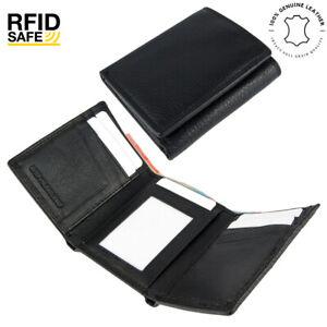 Men's Genuine Cowhide Soft Leather RFID 8 Cards Tri-Fold Wallet New Black