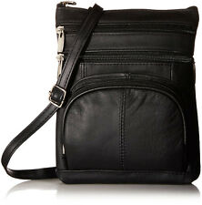 AFONiE Genuine Fashion Geneva Genuine Leather Cross-body Bag BLACK NWT