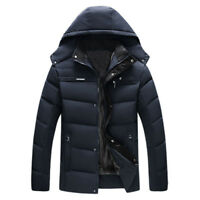 Men's Fur Lined Hooded Duck Down Coat Quilted Padded Puffer Jacket winter Parka