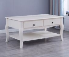 French Style White Coffee Table TV Stand Drawers Cabinet and Shelf Living Room