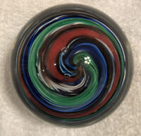 "Stunning Vintage V & M Studio Art Glass Hand Blown Glass Paperweight 4"" Dia"